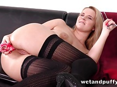 Anal dildo girl takes a hot piss on the carpet tubes