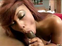 Sultry ebony blowjob gets her laid from behind tubes