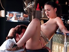 Bartender bangs the slutty customer on a stool tubes