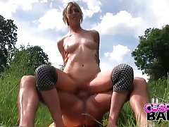 Blowjob in a field from a blonde in a costume tubes