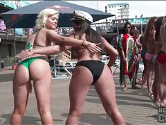 Booty shaking bikini girls look hot at a party tubes