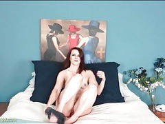 Soft satin camisole looks sexy on a milf redhead tubes