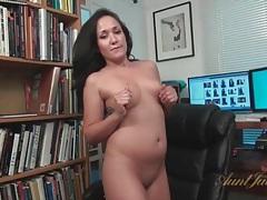 Babe with labia rings fucks a dildo tubes