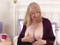 Purple lingerie is wondrous on the busty granny tubes