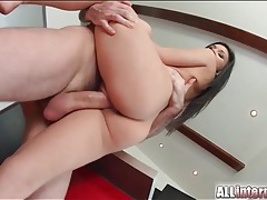 Fucking a beautiful black haired girl with a big cock tubes