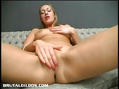 Amateur fills her once tight asshole with a giant dildo tubes