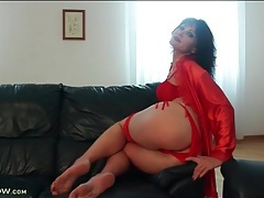 Soft red satin robe and lingerie on a hot mature tubes