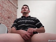 Cute white guy wanking to porn at the gloryhole tubes
