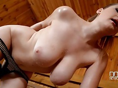 Big titties swing as the sauna babe masturbates tubes