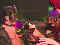 Masquerade party orgy with lovely girls in lingerie tubes