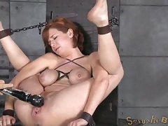 Milf bent in bondage so he can use her cunt tubes
