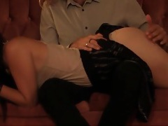Spanking and fingering a sexy girl over his knees tubes