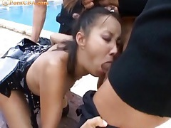 Asian slut in latex gangbanged outdoors tubes