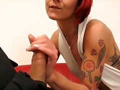 Hot tattooed girl bends over for casting couch dick tubes