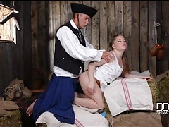 Pretty farm girl fucked in a barn by a horny soldier tubes