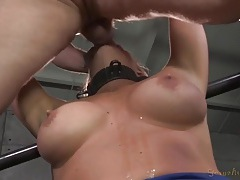 Slut wears a metal collar during her face fucking tubes