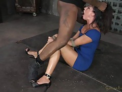 Tied india summer covered in spit after face fucking tubes