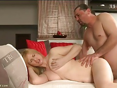 Mature cunt is shaved smooth and sexy as he fucks her tubes
