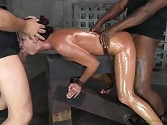 Spit roasted slut india summer in sexy bondage tubes