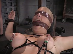 Blindfolded girls are bound and suffering in the dungeon tubes