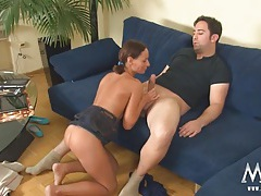 Milf in cute pigtails sucks and fucks a fat dick tubes