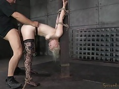 Bent in painful bondage and fucked by bbc tubes