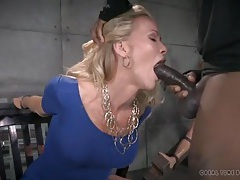 Dungeon blowjobs from a cuffed milf in a tight dress tubes