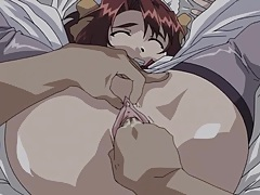 Anime maid fingered deeply in her wet pussy tubes
