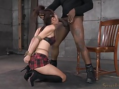 Tied submissive sucks black cock from her knees tubes