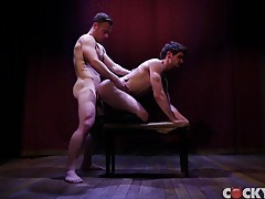 Hunky hard bodies look hot fucking on a stage tubes