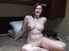 Curvy naked babe in the rv has a gorgeous shaved pussy tubes
