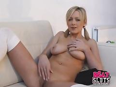 Pigtails babe jessica cute masturbates her hot cunt tubes