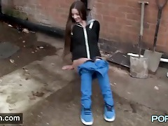Pretty long haired girl pees on the streets of britain tubes