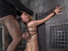 Bound breasts turn blue as she gets face fucked tubes