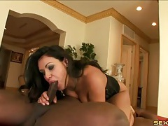Hot cock slut in a corset loves dick in an interracial 69 tubes