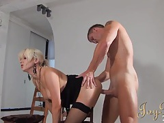 Blonde fucked in the photo studio as a girl watches tubes