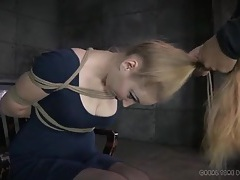 Cute dress and stockings on a girl submitting to bondage tubes