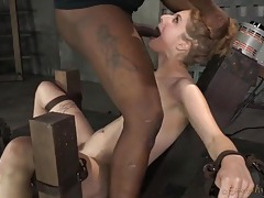 Her masters take turns face fucking a bound girl tubes