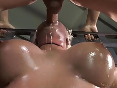 Tightly bound leya falcon gets mouth fucked tubes