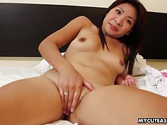 Shaved asian pussy looks silky smooth during toy sex tubes