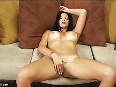 Milf in a pretty pink dress strips and masturbates tubes
