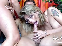 Wild milfs share cock and gets off on the hard thrusts tubes