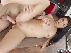 Black haired beauty fucked and filled with hot cum tubes