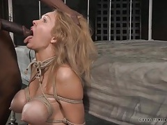 Blonde tied up and face fucked by a black cock tubes