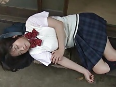 Japanese schoolgirl eri sasaki in a sweater and skirt tubes