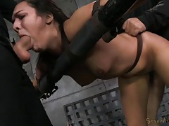 Strapped down girl spit roasted by two guys tubes