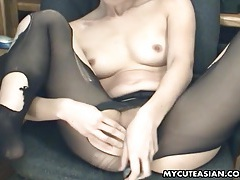 Dildo fucking in ripped pantyhose with a hot asian tubes