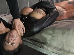 Bonnie rotten used hard in a leather straitjacket tubes