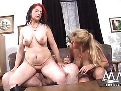 Chubby babes and a thick guy have a threesome tubes