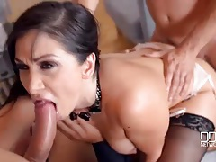 New girl at work does a gangbang with her bosses tubes